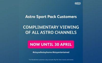 Astro Menawarkan Tontonan Percuma Kepada Semua Saluran Untuk Pelanggan Sports Pack